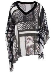 Kirsten Krog - Grafisk Print Poncho Bluse