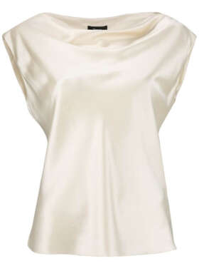 THEORY - Draped Boatneck Satin Top