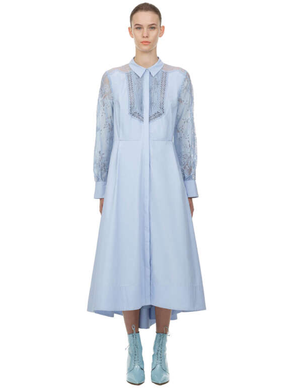 Self Portrait - Lace Panel Midi Shirt Dress