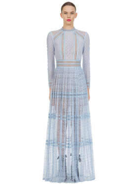 Self Portrait - Blue Lace Panel Maxi Dress