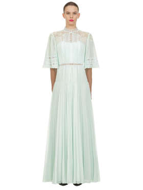 Self Portrait - Mint Lace Panel Maxi Dress