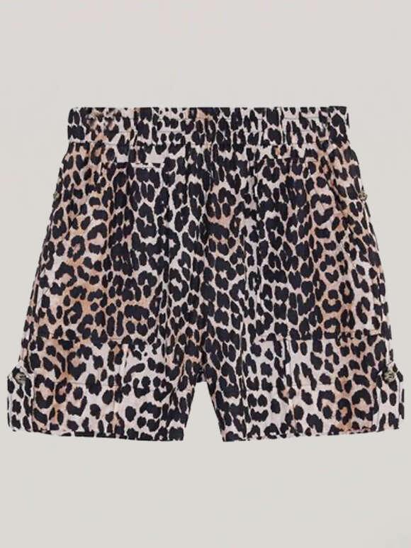 Ganni - Cotton Silk Leo Shorts