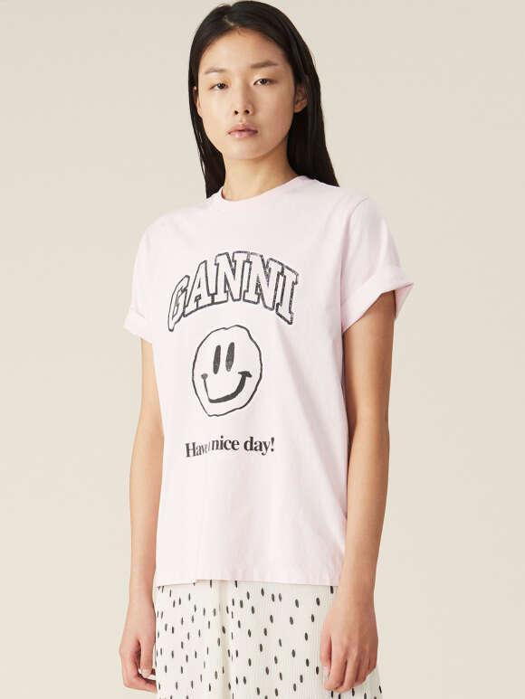 Ganni - Basic Cotton Smiley T-shirt
