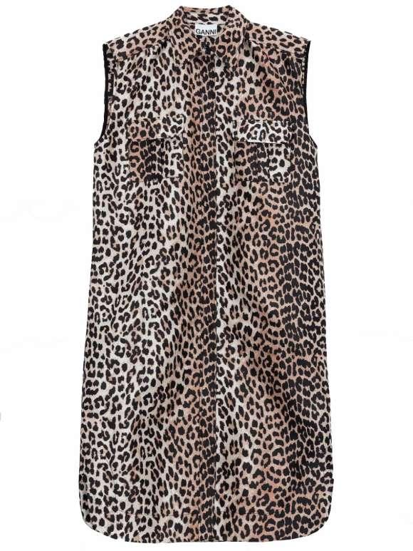 Ganni - Leopard Sleeveless Shirtdress
