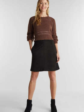 Esprit - Lårkort nederdel af velour