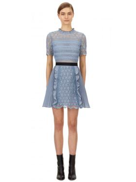Self Portrait - Blue Lace Guipure Mini Dress