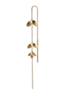 Jane Kønig - CHAIN EARRING 3-LEAVES GULD